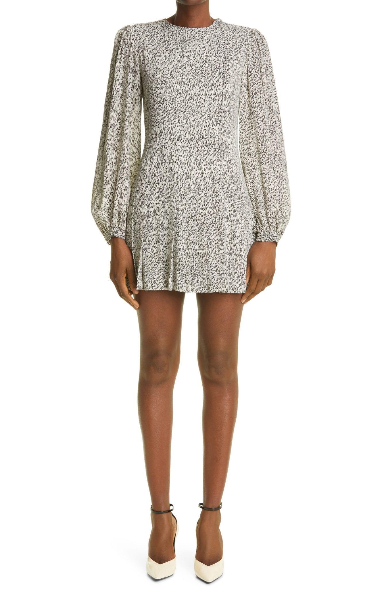 SAINT LAURENT Zebra Long Blouson Sleeve Crepe Mini Dress