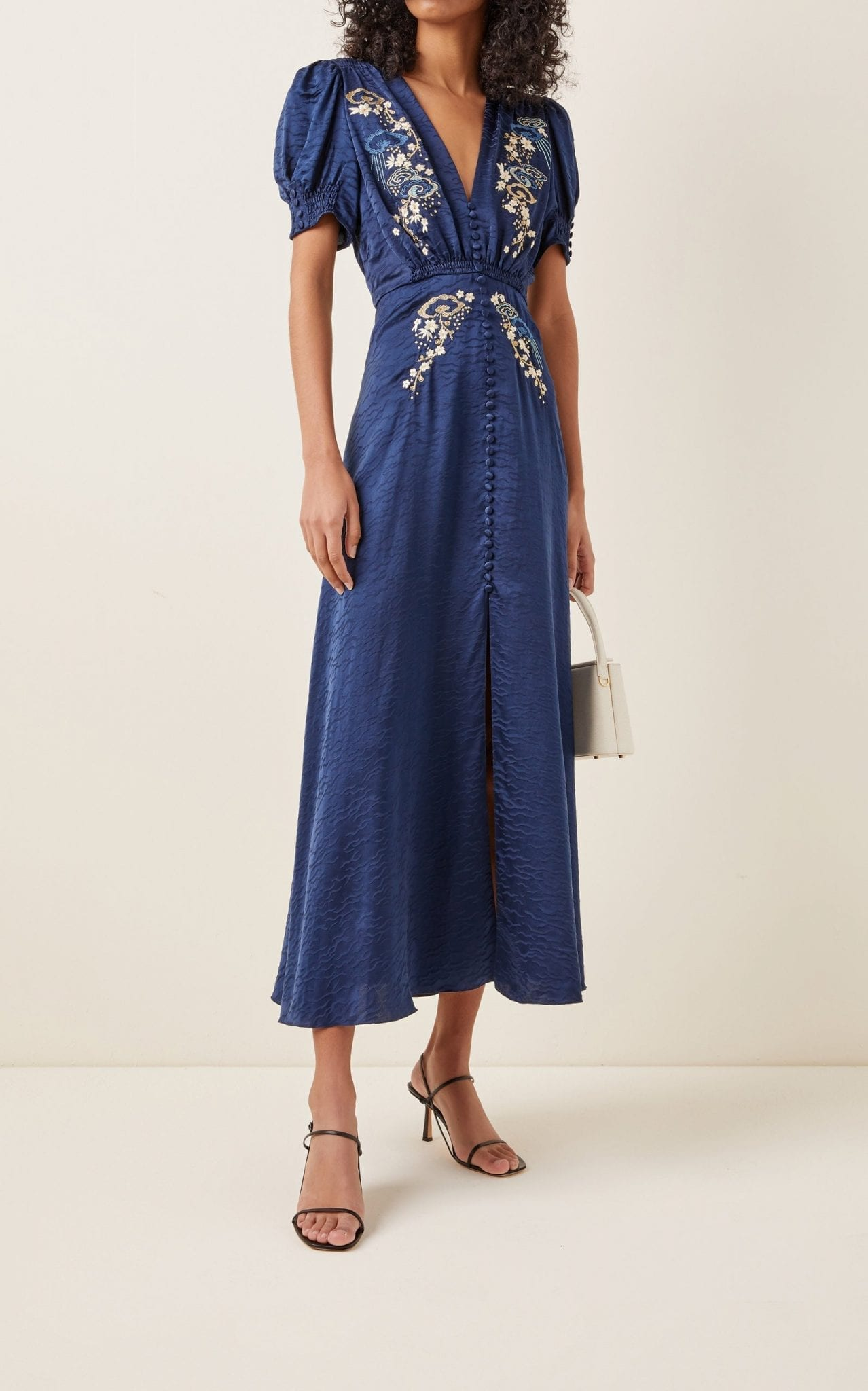 SALONI Lea Embroidered Silk Jacquard Midi Dress