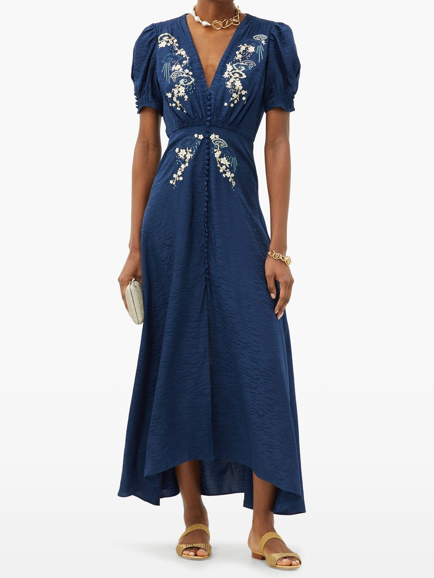 SALONI Lea Floral-embroidered Silk-crepe Midi Dress