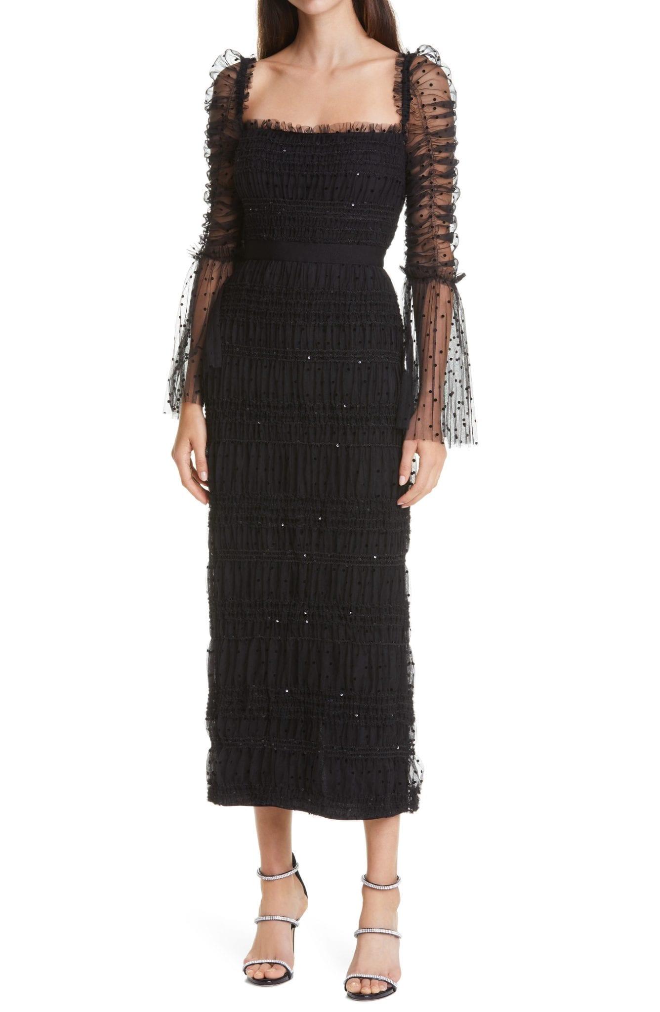 SELF-PORTRAIT Black Dot & Sequin Long Sleeve Mesh Dress