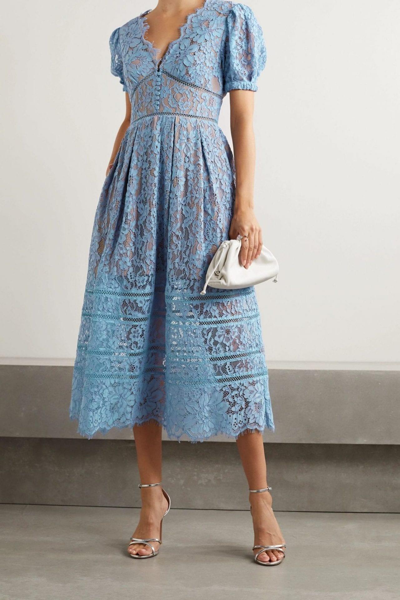 SELF-PORTRAIT Crochet-trimmed Cotton-blend Corded Lace Midi Dress