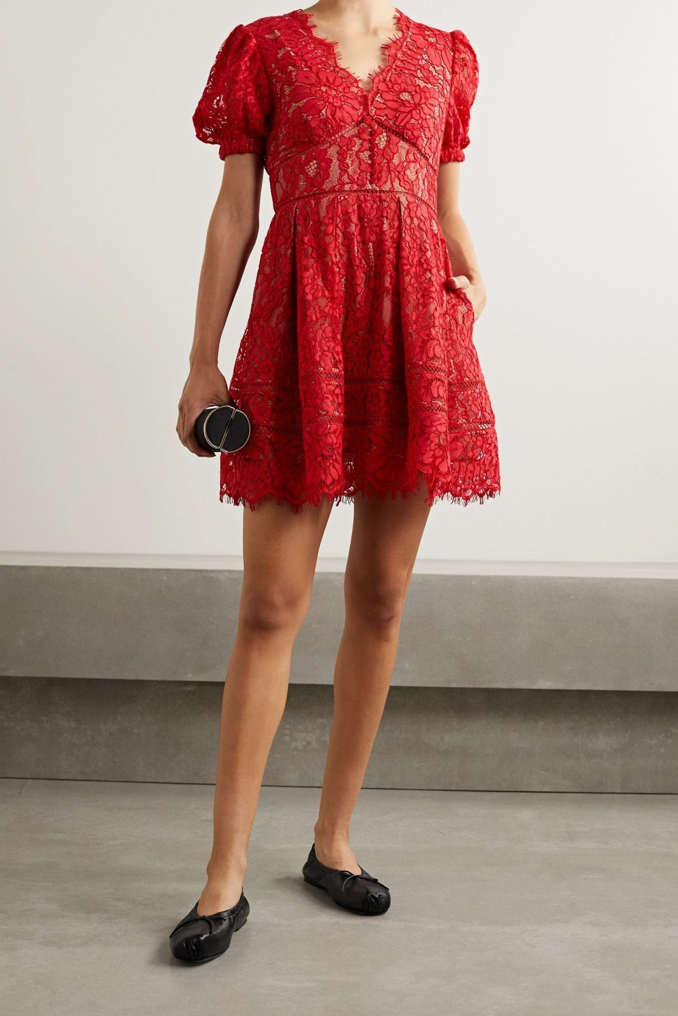 SELF-PORTRAIT Crochet-trimmed Cotton-blend Corded Lace Mini Dress