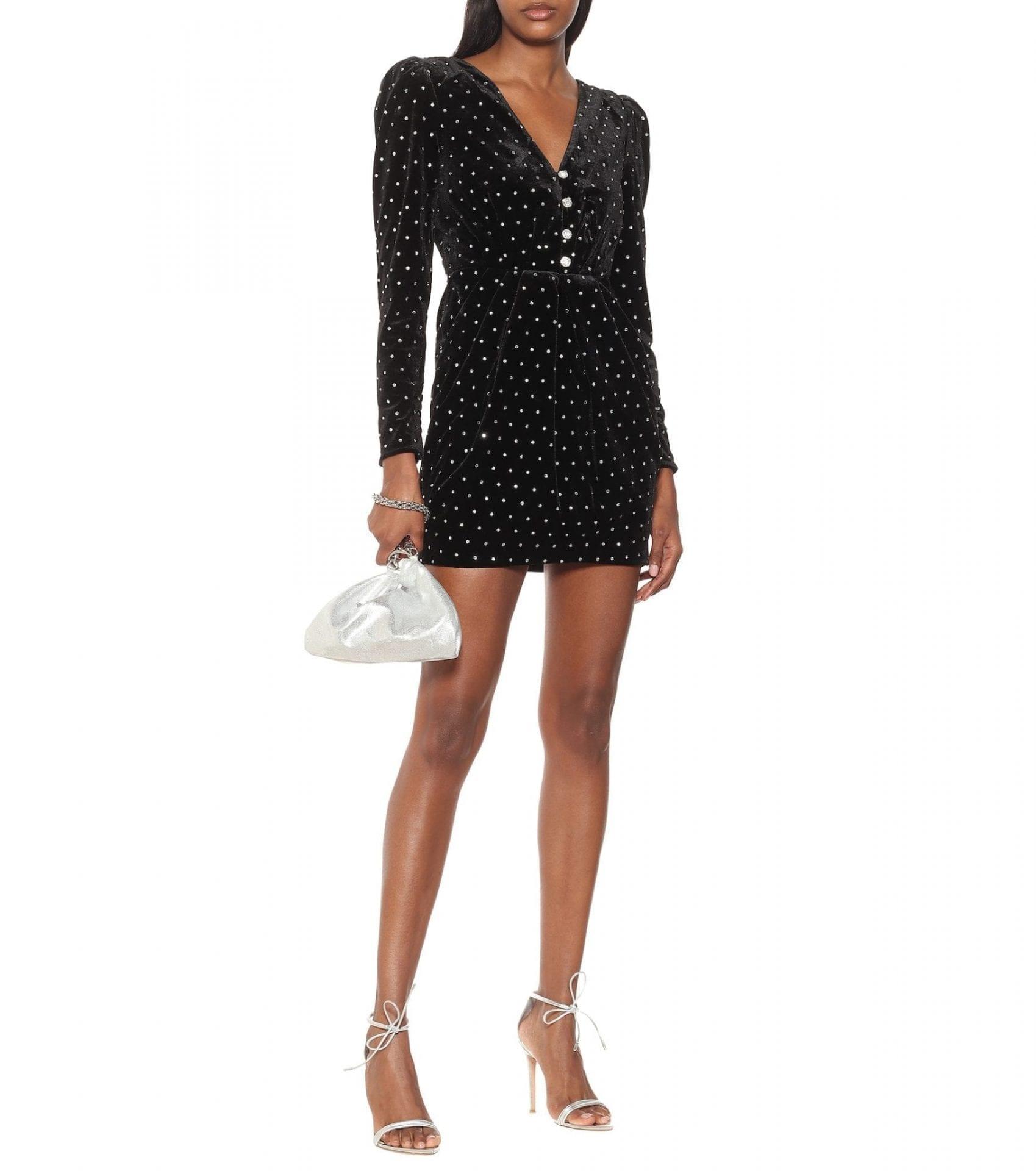 SELF-PORTRAIT Embellished Velvet Mini Dress