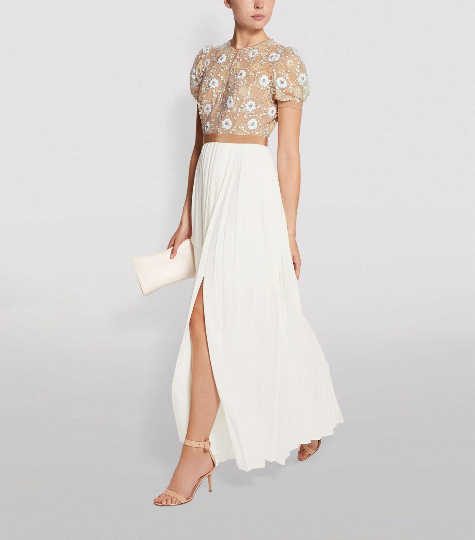 SELF-PORTRAIT Floral Sequin Chiffon Maxi Dress