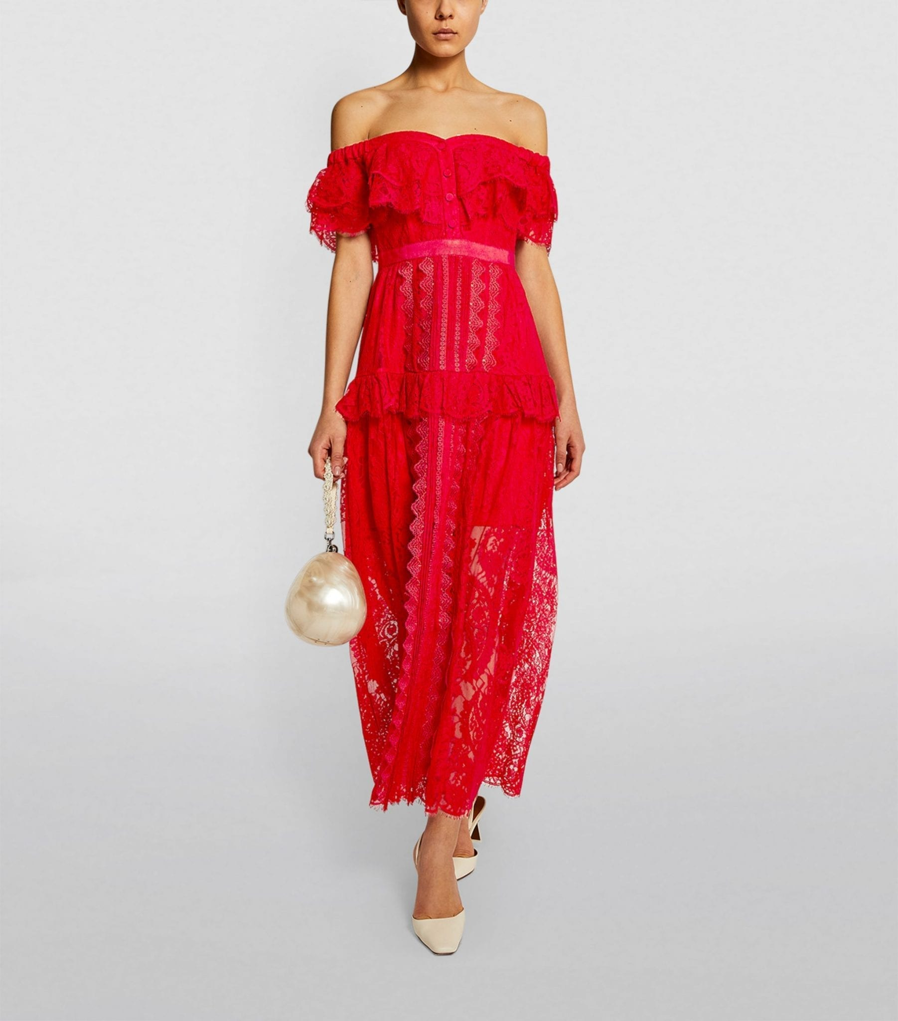 SELF-PORTRAIT Lace Off-The-Shoulder Maxi Dress