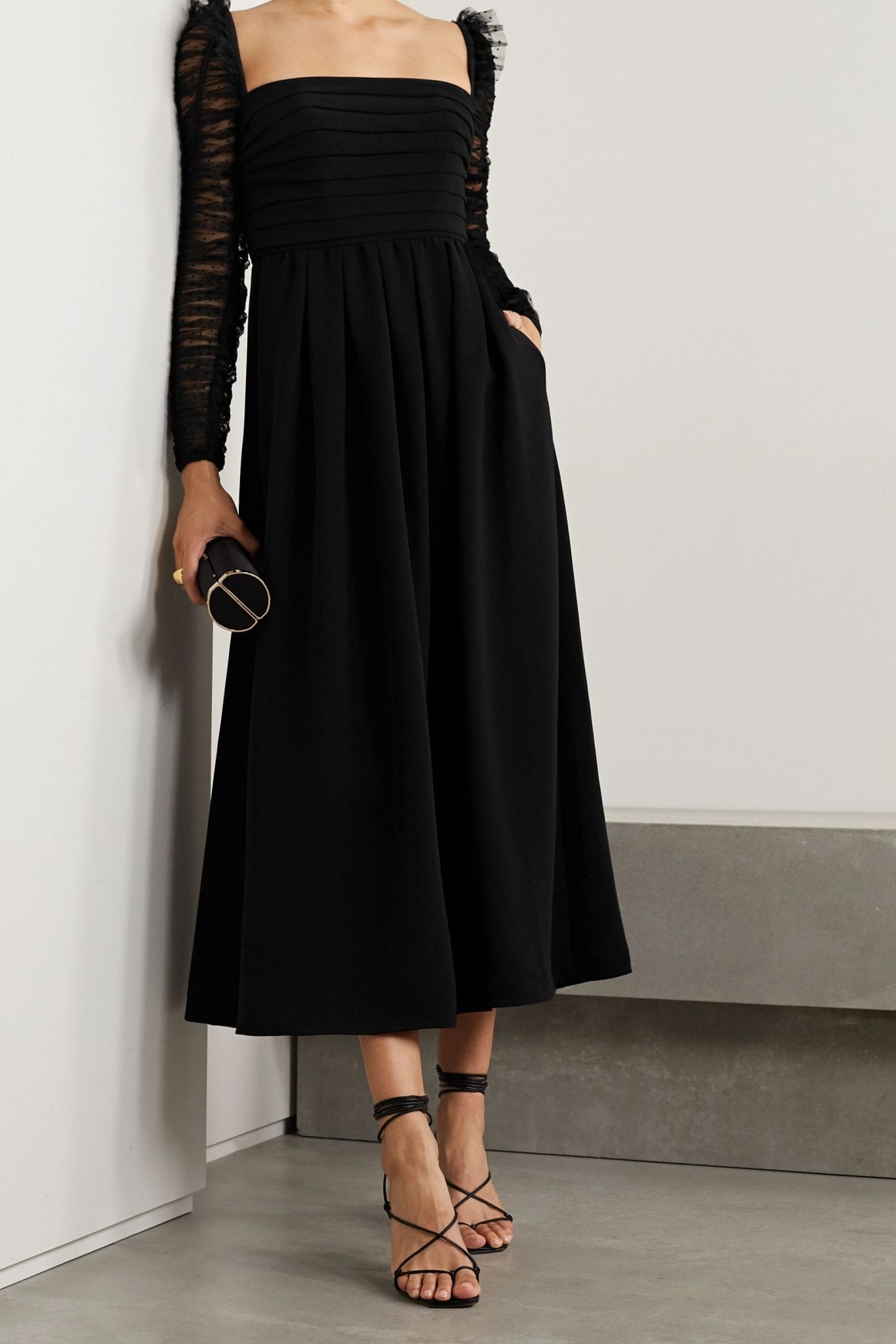 SELF-PORTRAIT Pleated Crepe And Ruched Polka-dot Flocked Tulle Midi Dress