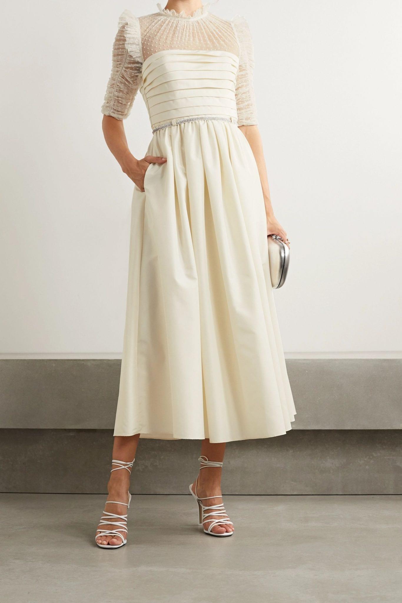 SELF-PORTRAIT Pleated Taffeta And Ruched Polka-dot Flocked Tulle Midi Dress