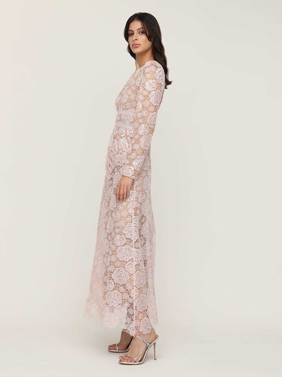SELF-PORTRAIT Rose Lace Midi Dress