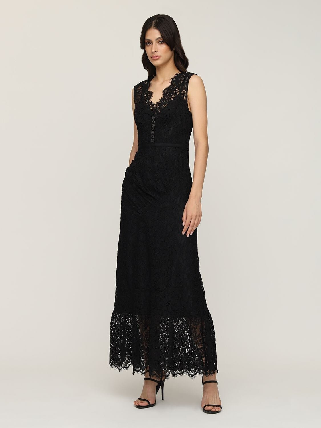 SELF-PORTRAIT Sleeveless Buttoned Cord Lace Midi Dress
