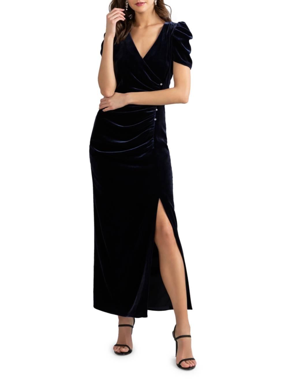 SHOSHANNA Ada Puff-Sleeve Slit Dress