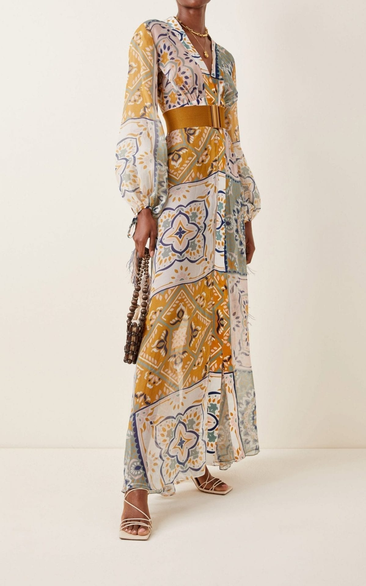 SILVIA TCHERASSI Inagua Belted Feather-Tipped Mosaic-Print Silk Georgette Maxi Dress