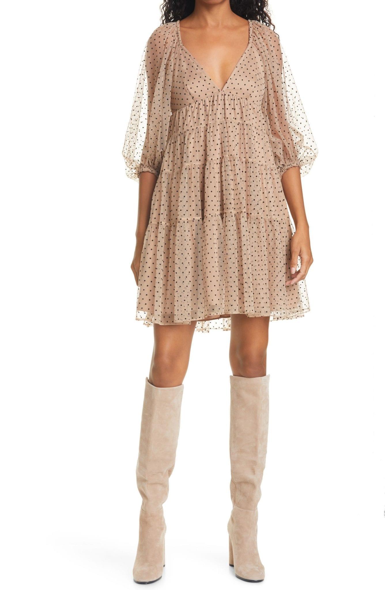 STAUD Meadow Dot Mini Dress
