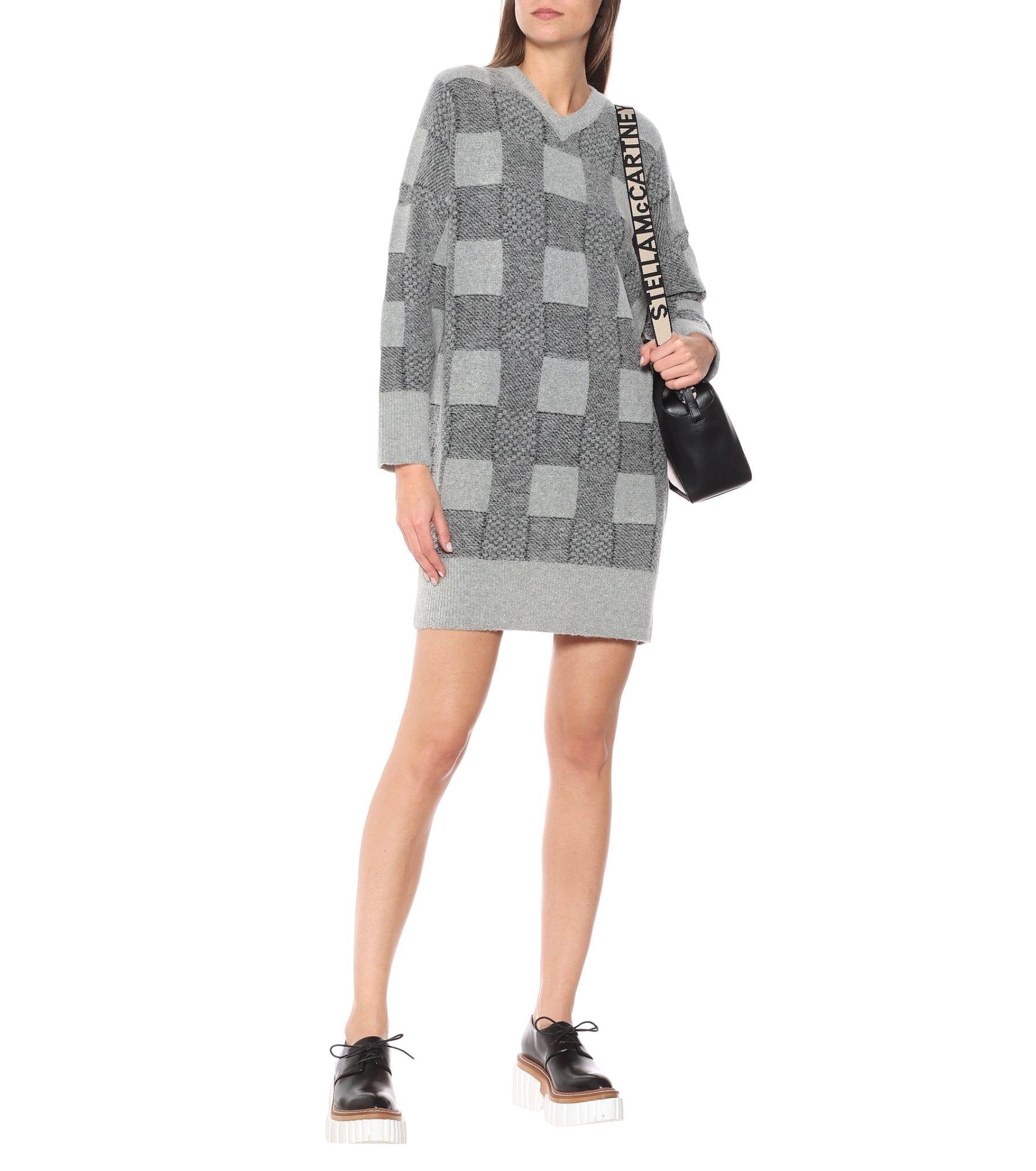 STELLA MCCARTNEY Checked Wool-blend Sweater Dress