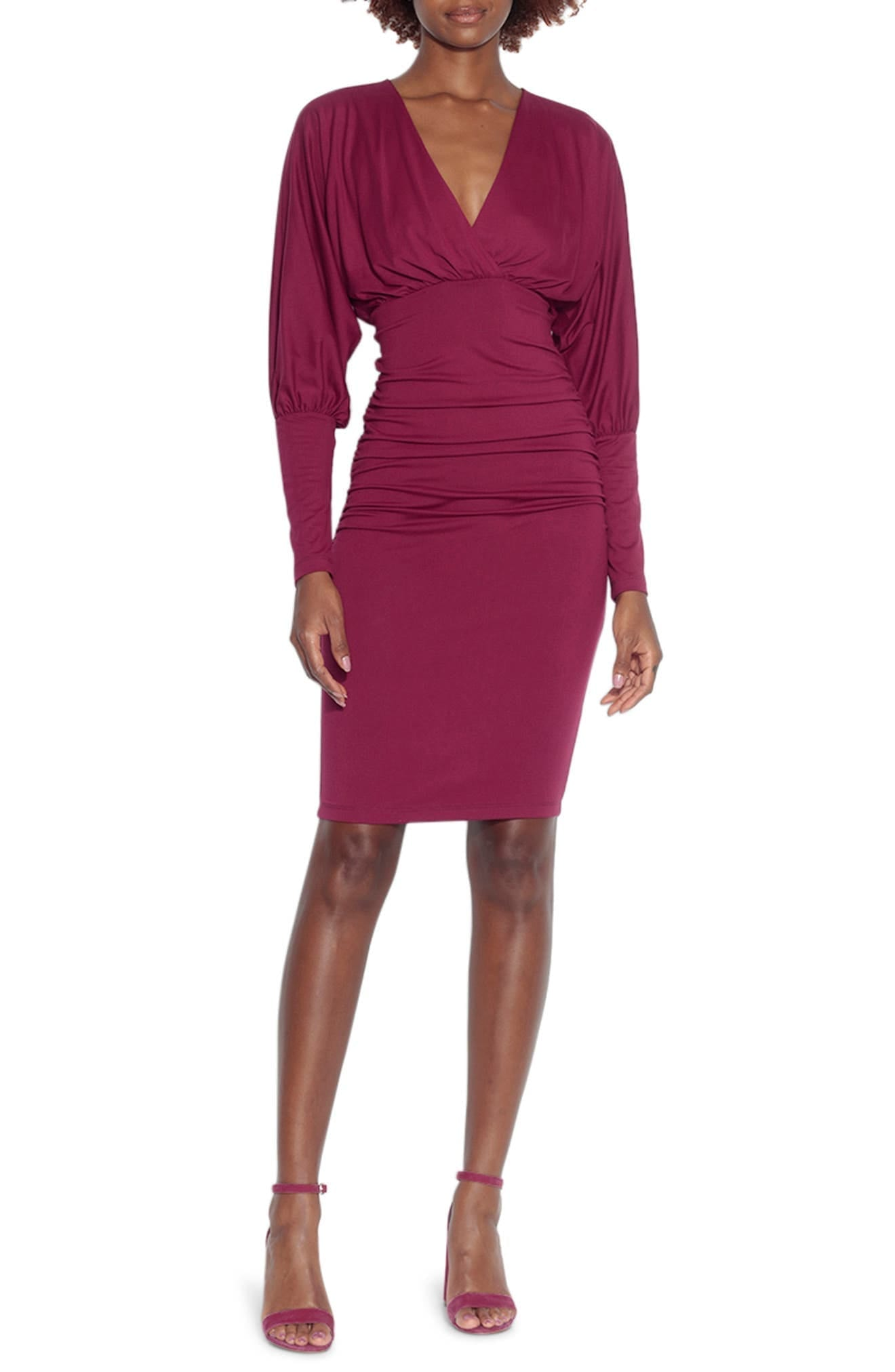 SUSANA MONACO Ruched Long Dolman Sleeve Dress