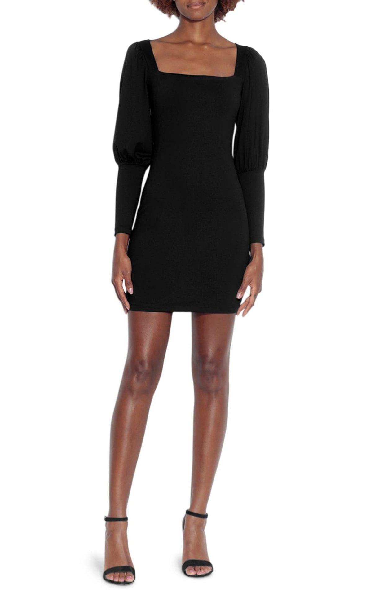 SUSANA MONACO Square Neck Long Sleeve Mini Dress