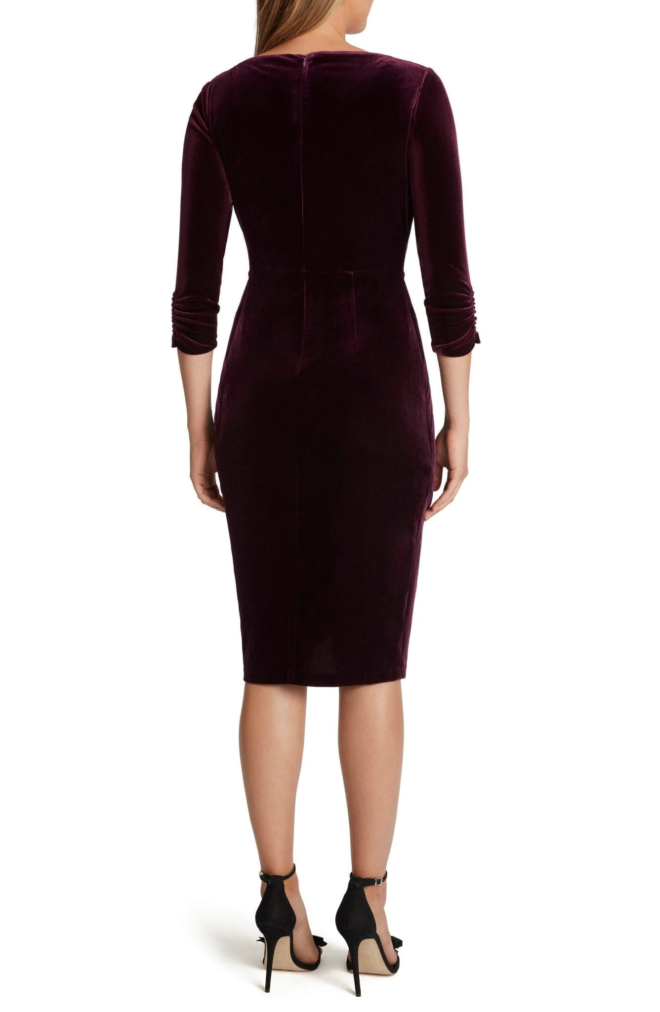 TAHARI Stretch Velvet Side Knot Dress