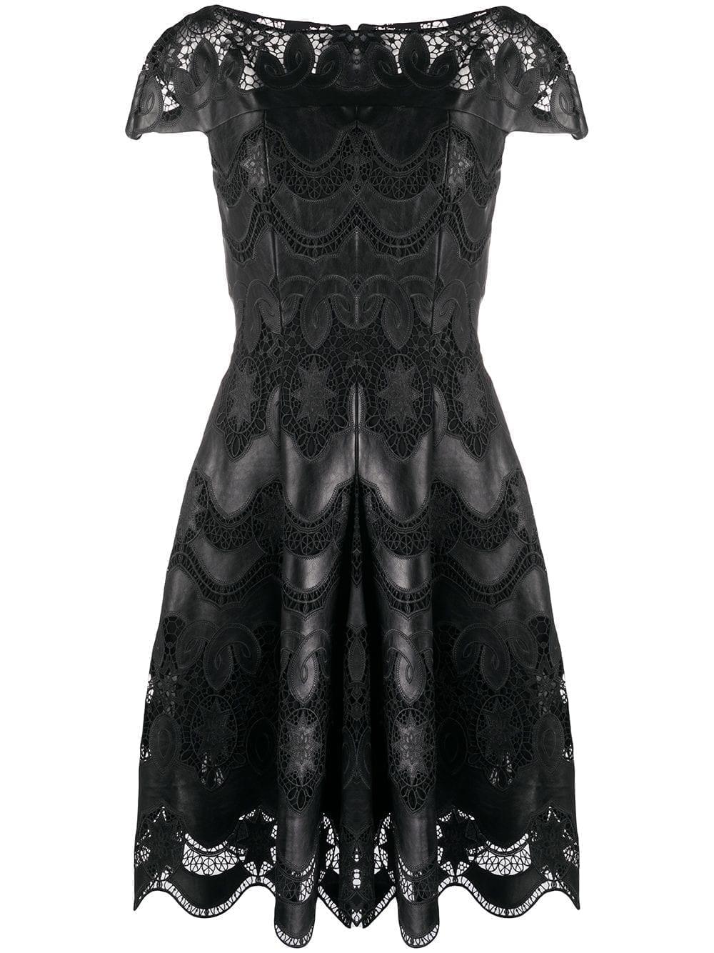 TALBOT RUNHOF Faux Leather Laser-cut Dress