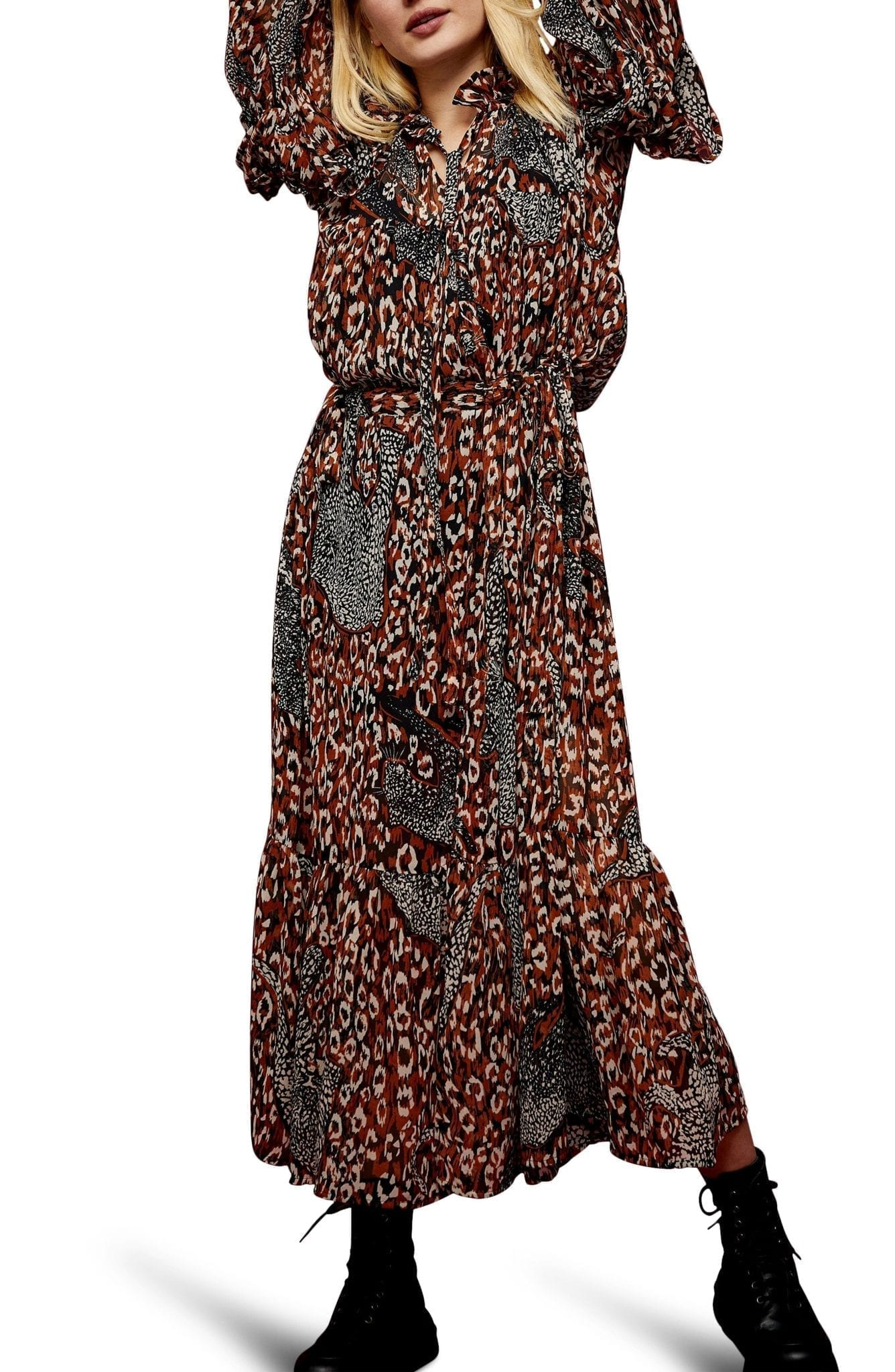 TOPSHOP Idol Leopard Maxi Dress