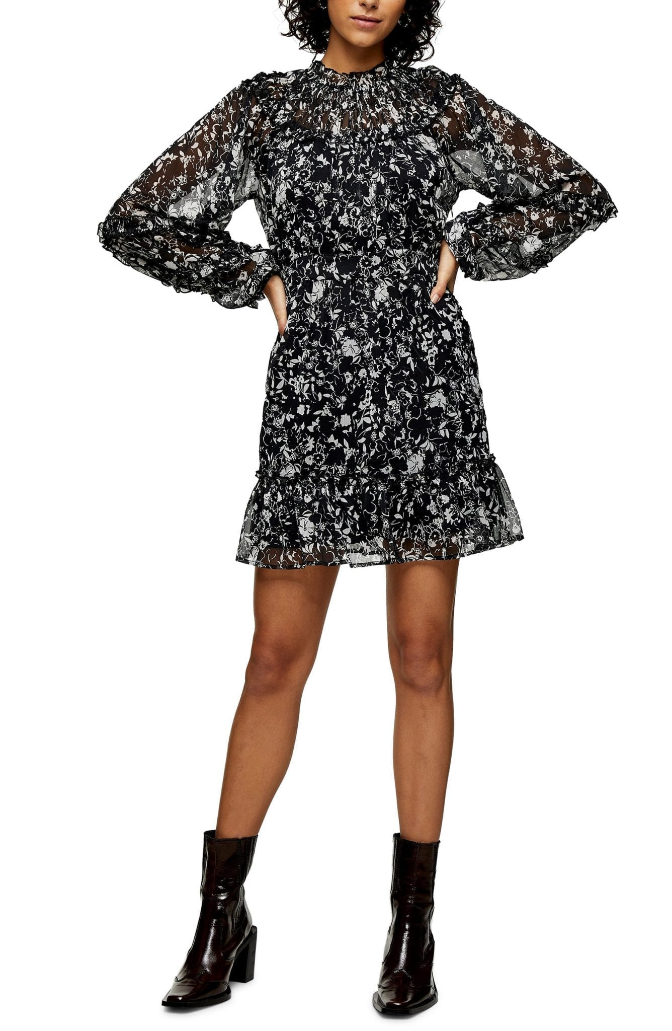 TOPSHOP Ruffle Floral Mini Dress