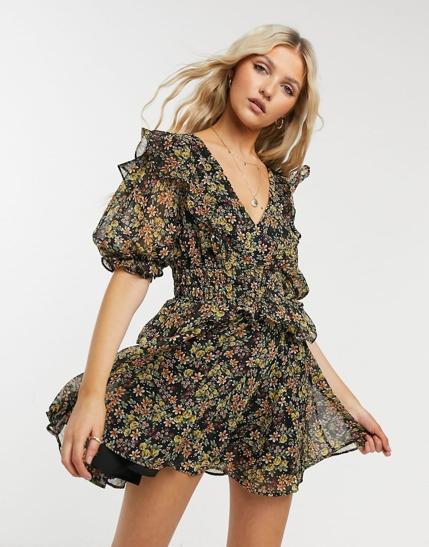 TOPSHOP Shirred Waist Mini Dress