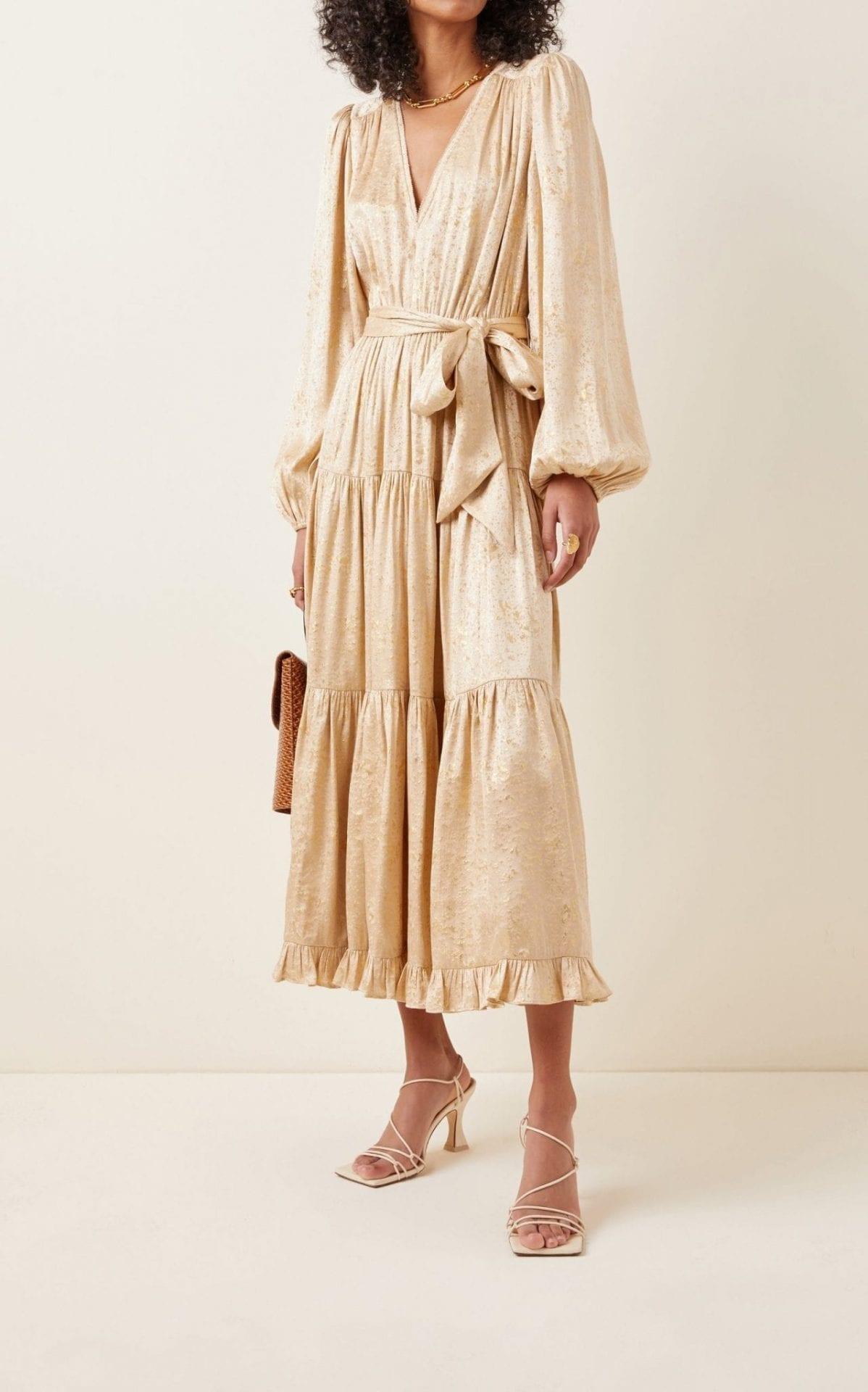 ULLA JOHNSON Helena Silk-Lurex Midi Dress