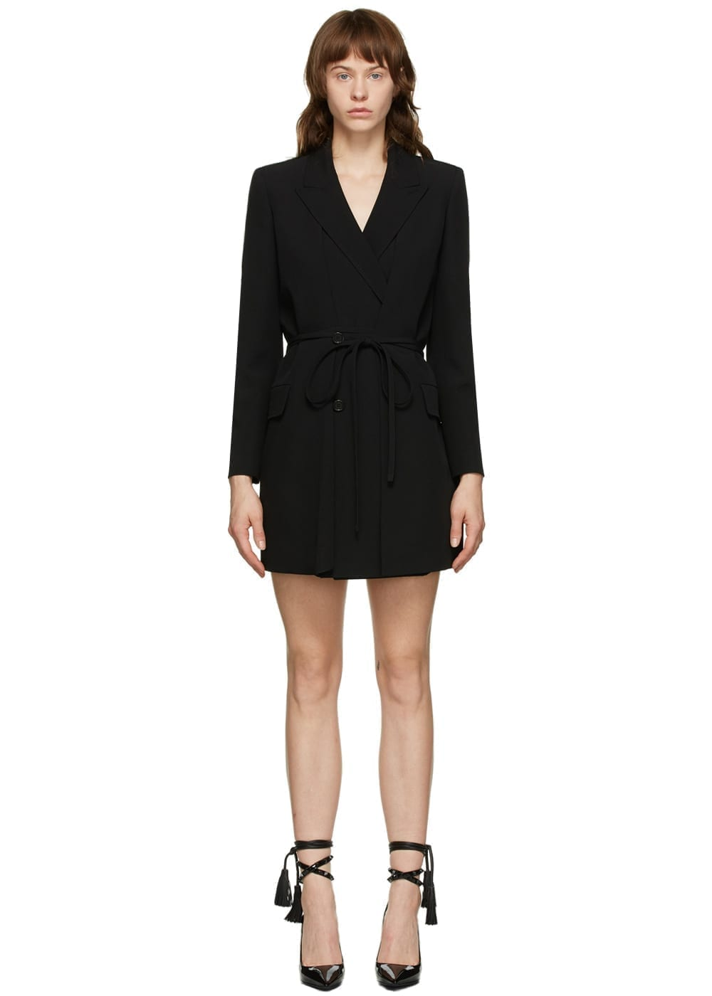 VALENTINO Black Wool & Silk Blazer Dress