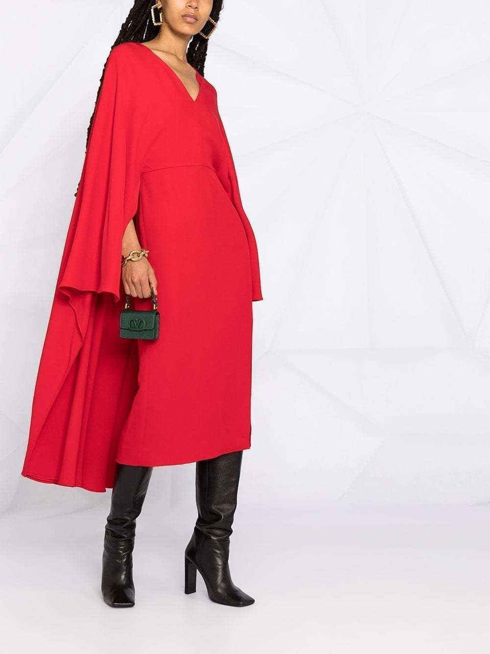VALENTINO Cape-style V-neck Silk Midi-Dress