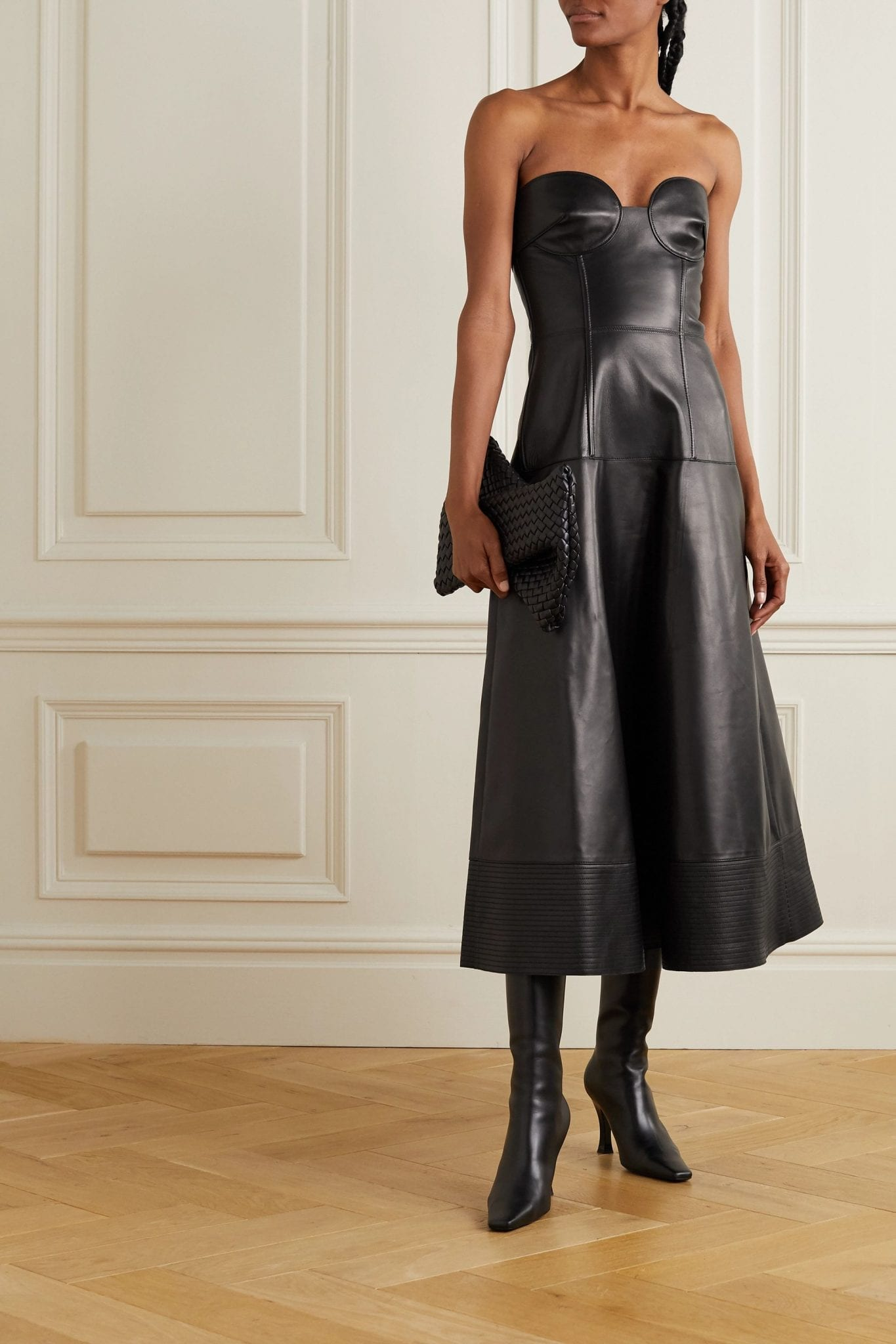 VALENTINO Strapless Leather Midi Dress
