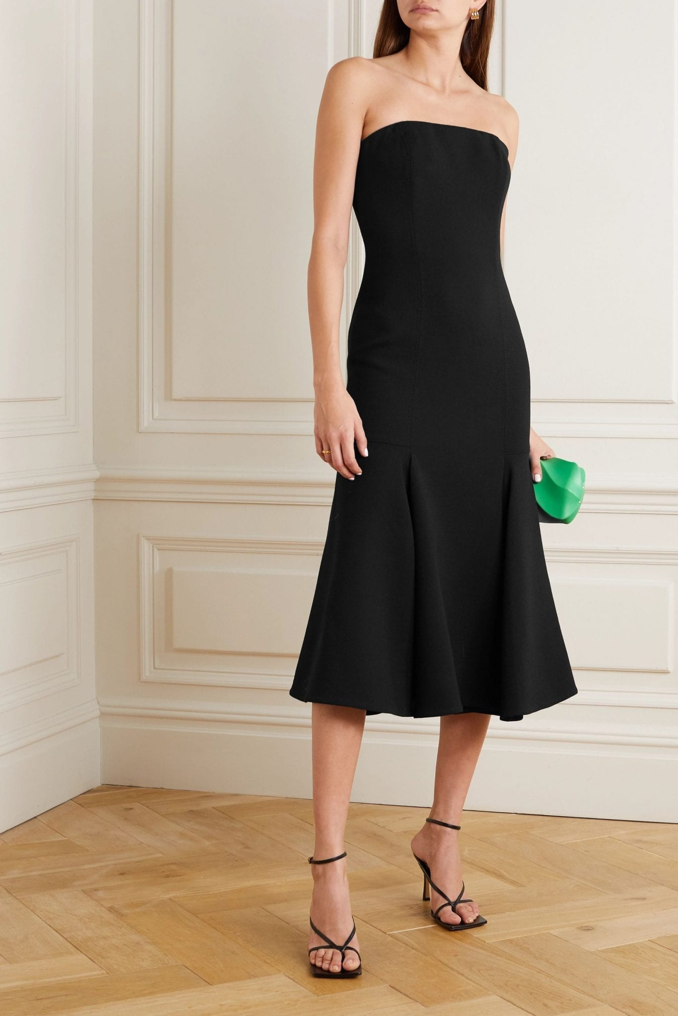 VALENTINO Strapless Wool-blend Crepe Midi Dress
