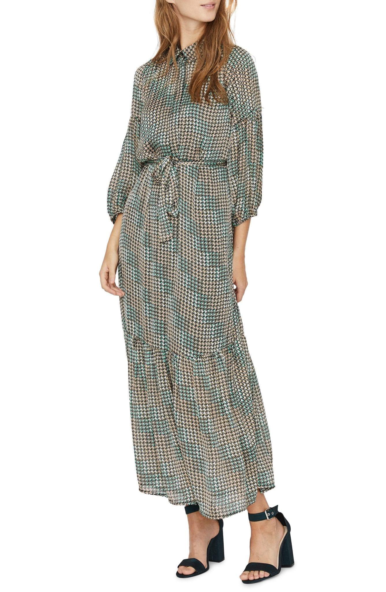 VERO MODA Berta Print Three Quarter Sleeve Shirt Dress