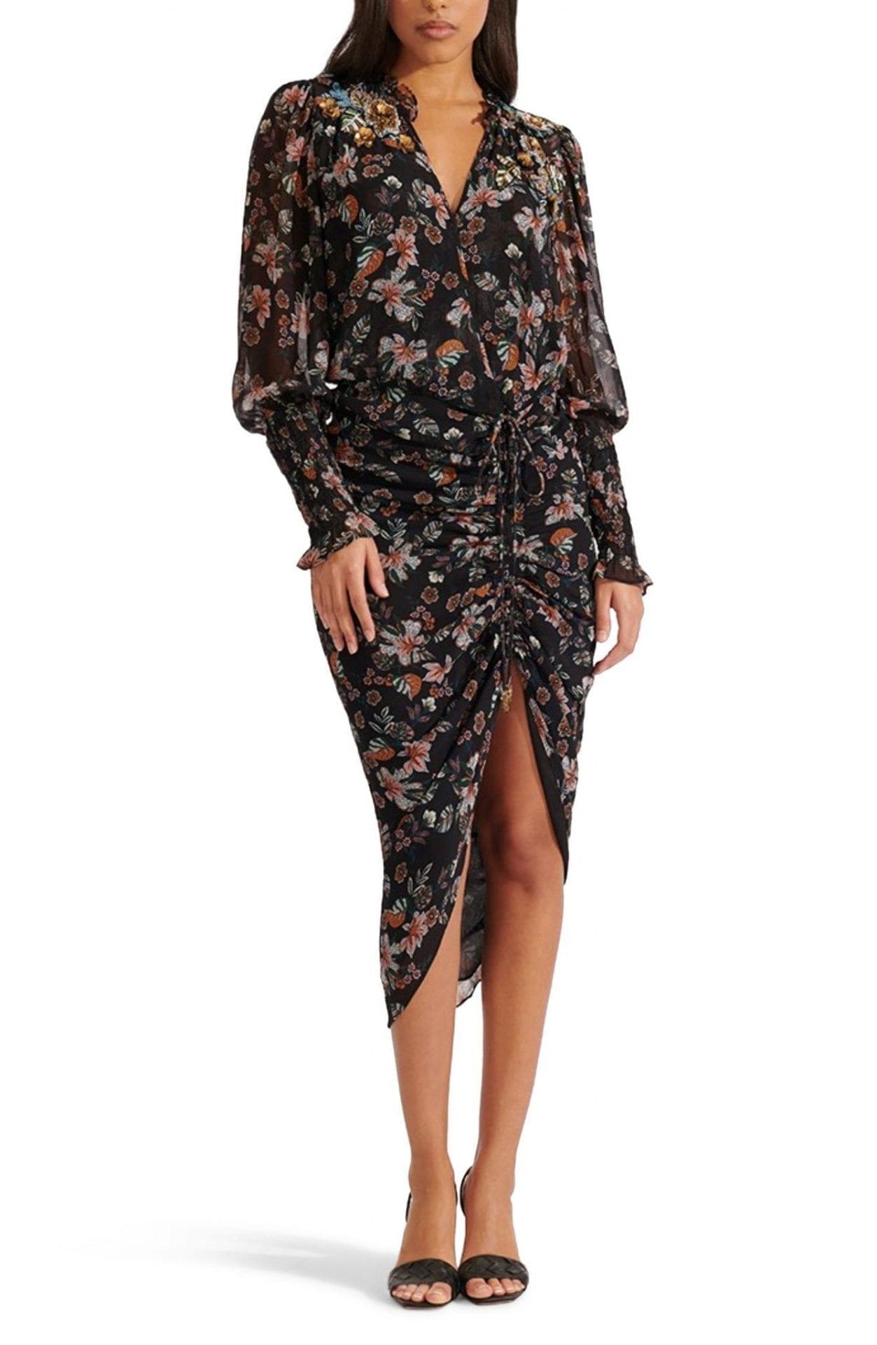 VERONICA BEARD Shaia Ruched Ruffle Long Sleeve Dress