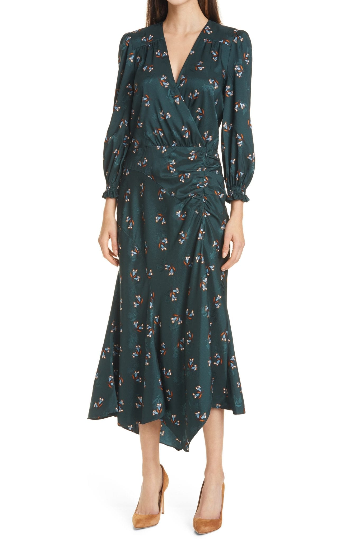 VERONICA BEARD Yasmeen Long Sleeve Midi Dress