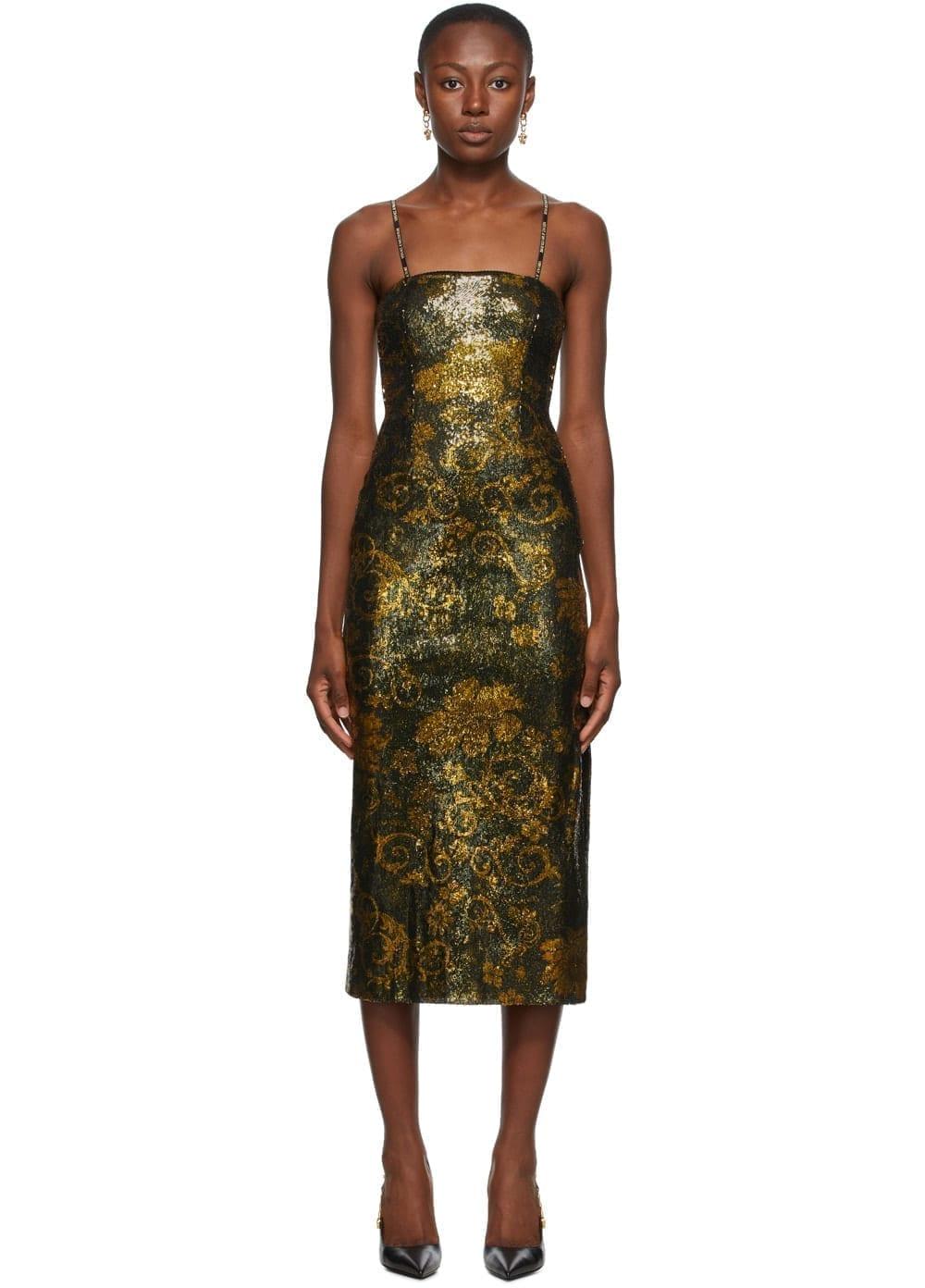 VERSACE JEANS COUTURE Black & Gold Glitter Midi Dress