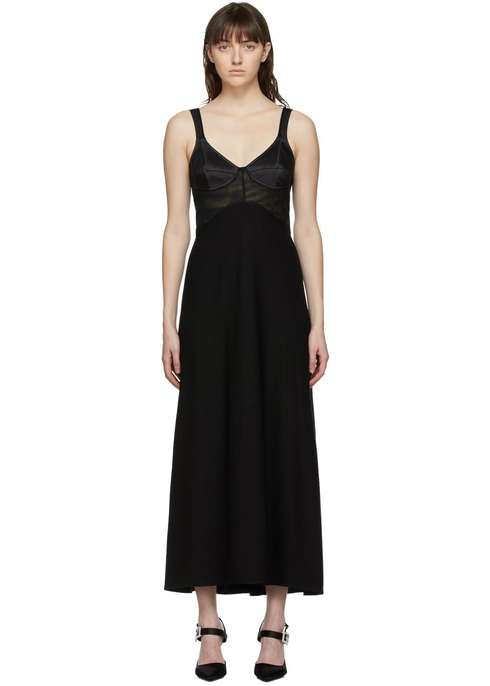 VICTORIA BECKHAM Black Insert Cami Midi Dress