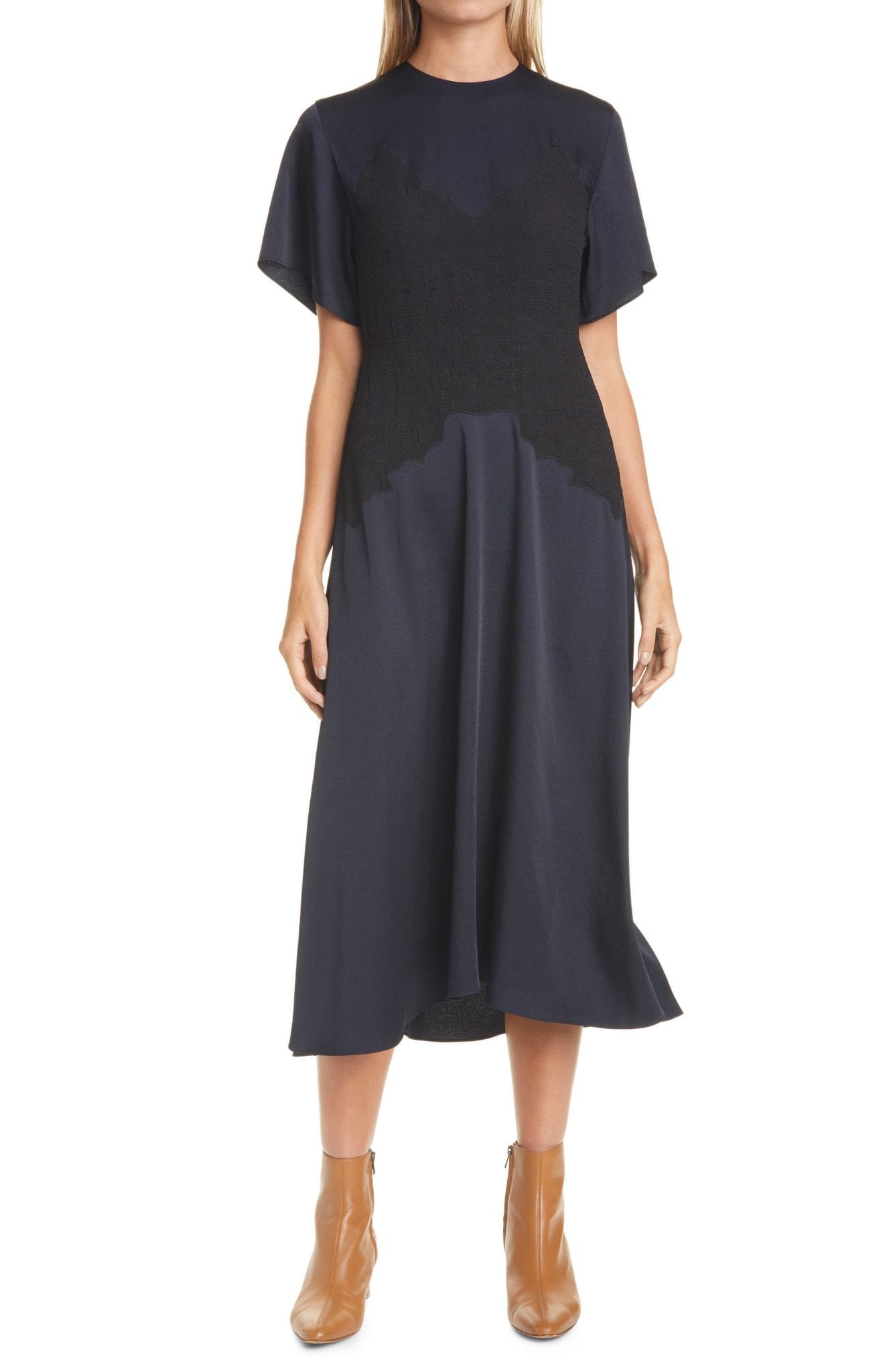 VINCE Crinkled Panel Flutter Sleeve Dress