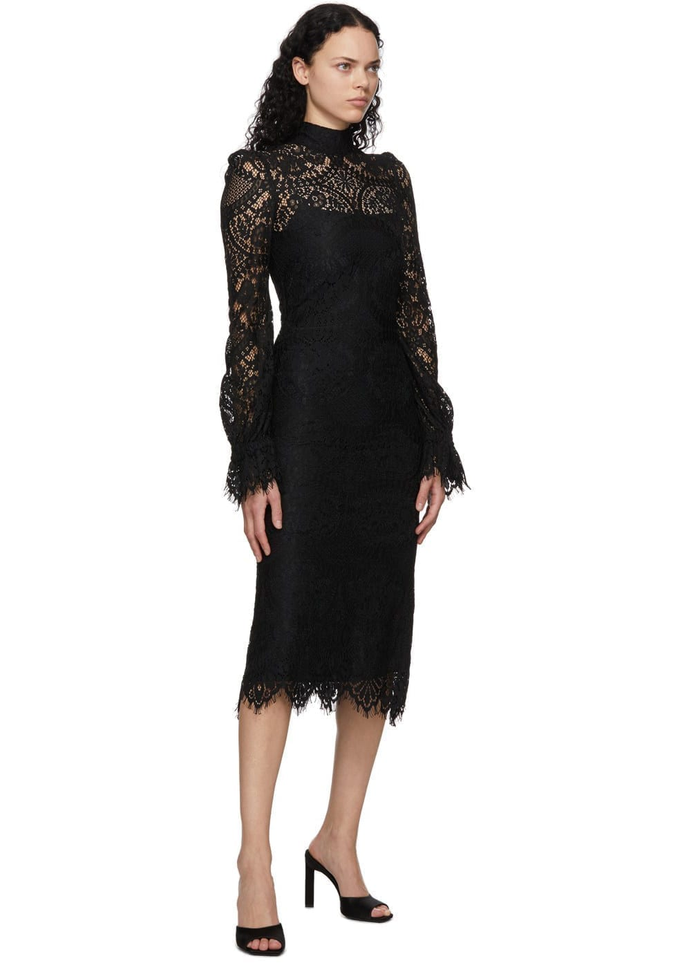 WANDERING Black Lace Mid-Length Dress
