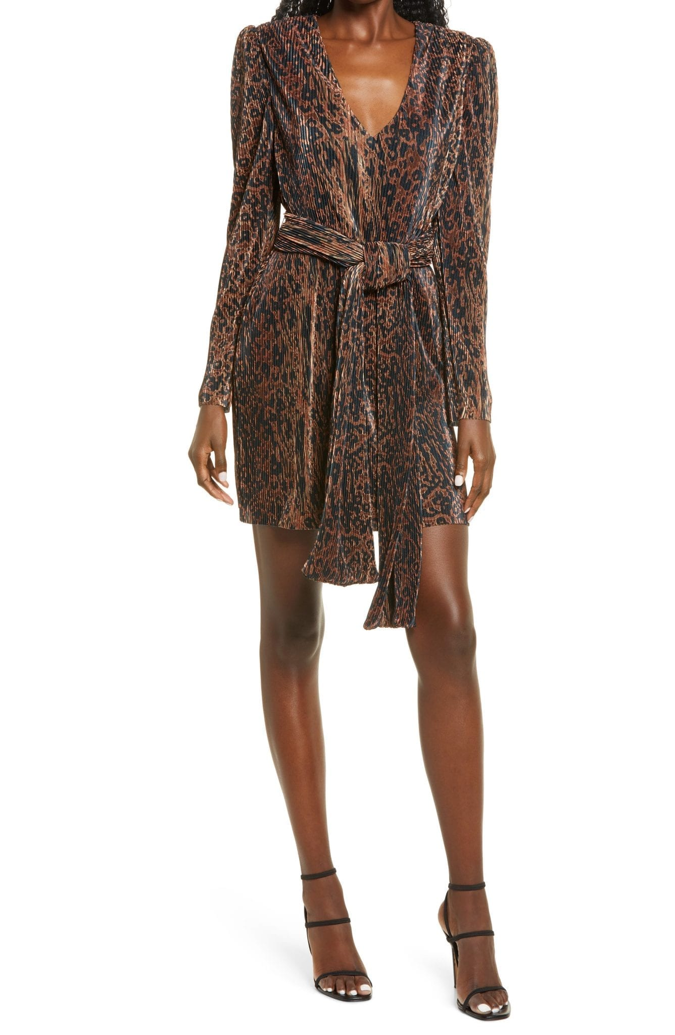 WAYF Riverside Pleated Long Sleeve Faux Wrap Mini Dress