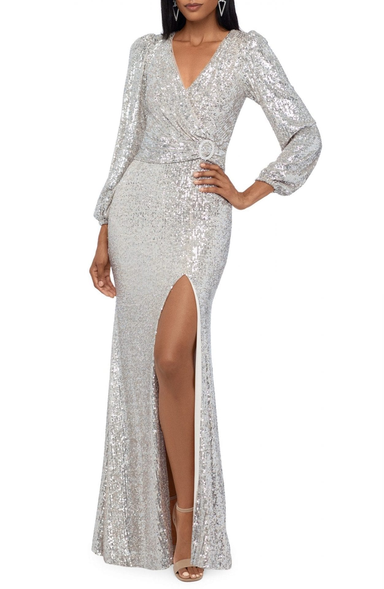 XSCAPE Sequin Long Sleeve Gown