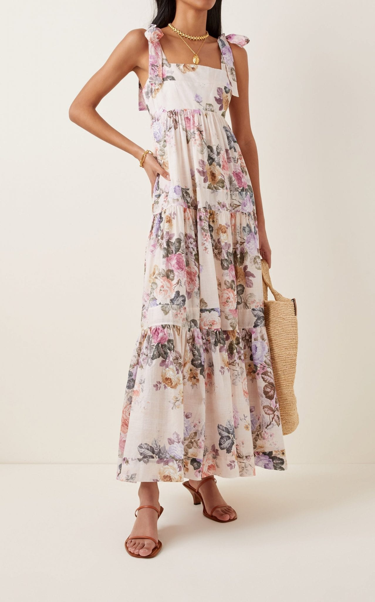 ZIMMERMANN Brighton Floral Cotton Midi Dress