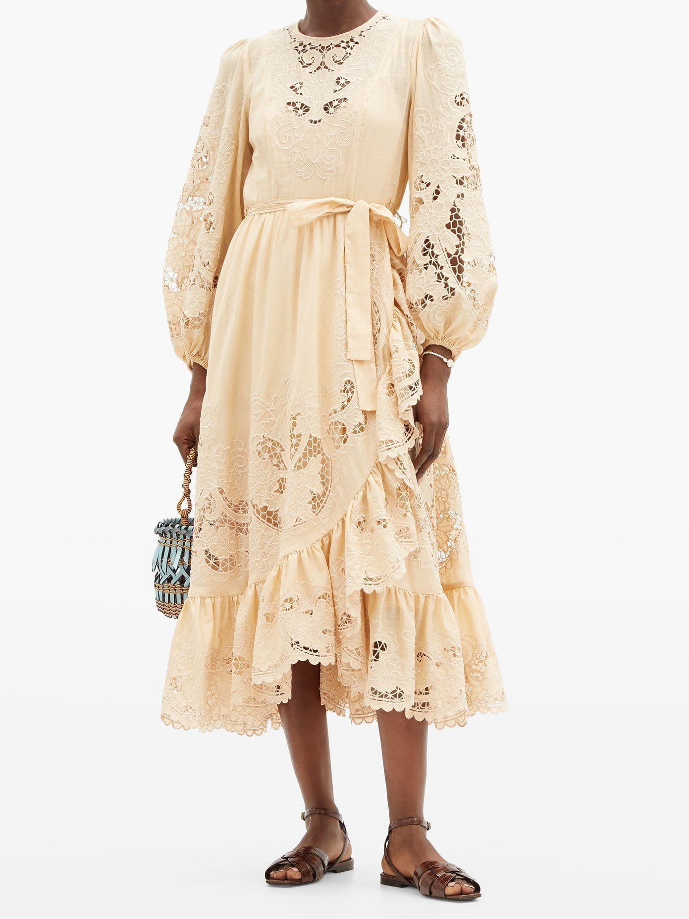 ZIMMERMANN Brighton Tie-waist Broderie-anglaise Cotton Dress