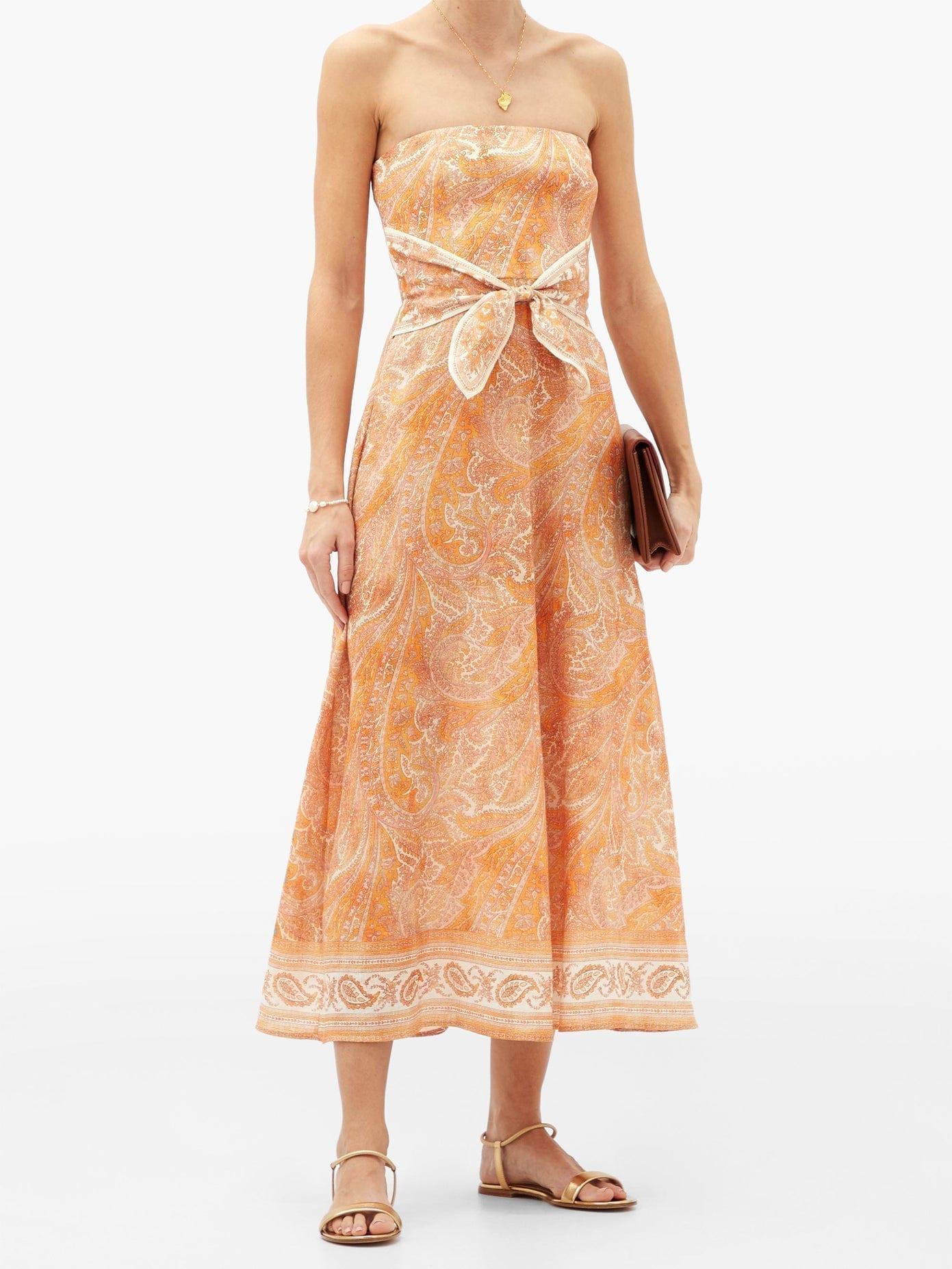 ZIMMERMANN Brighton Tie-waist Paisley-print Linen Midi Dress