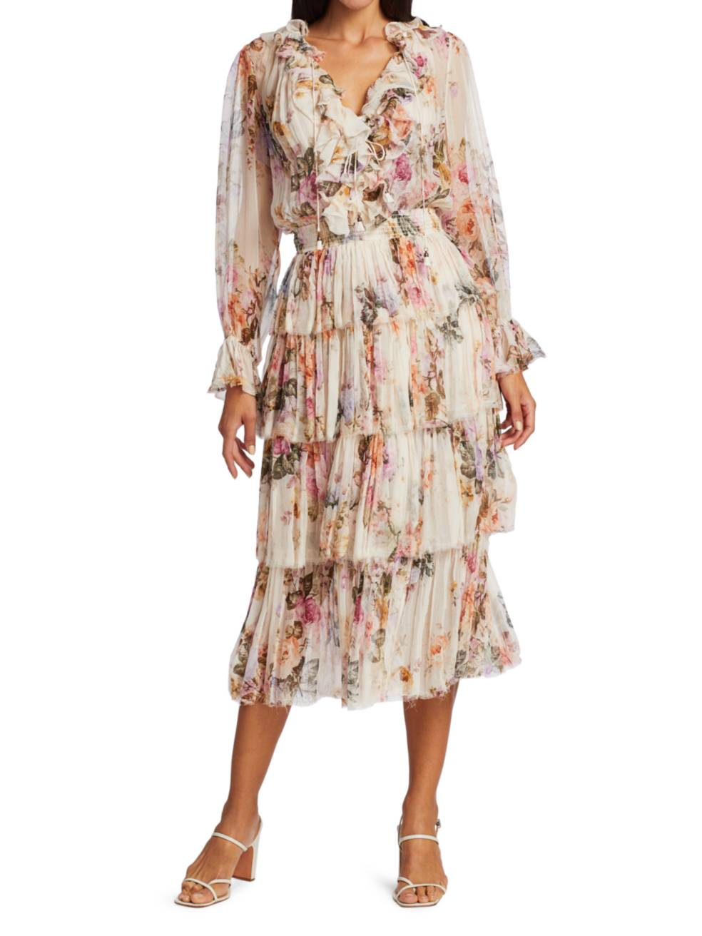 ZIMMERMANN Brighton Tiered Frill Midi Dress