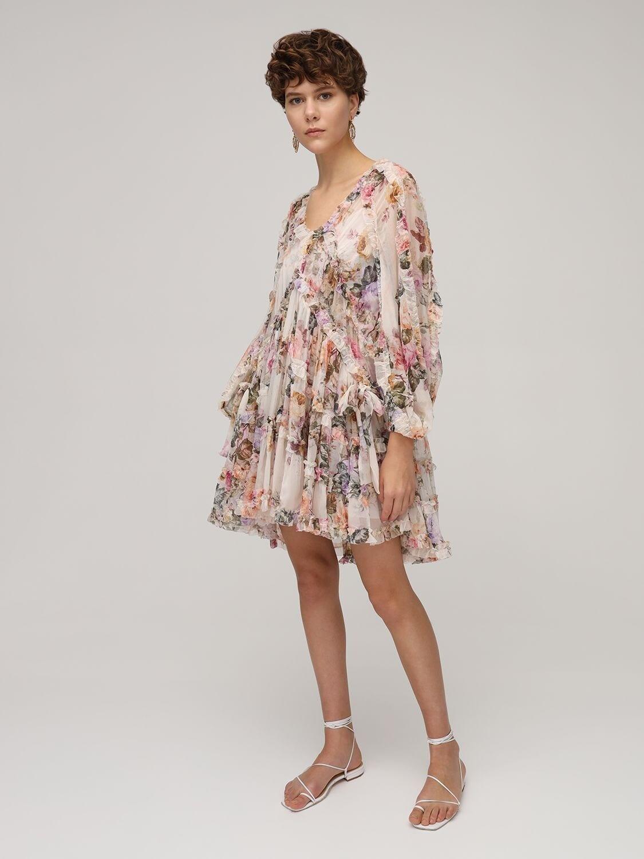 ZIMMERMANN Brighton Tiered Silk Chiffon Mini Dress
