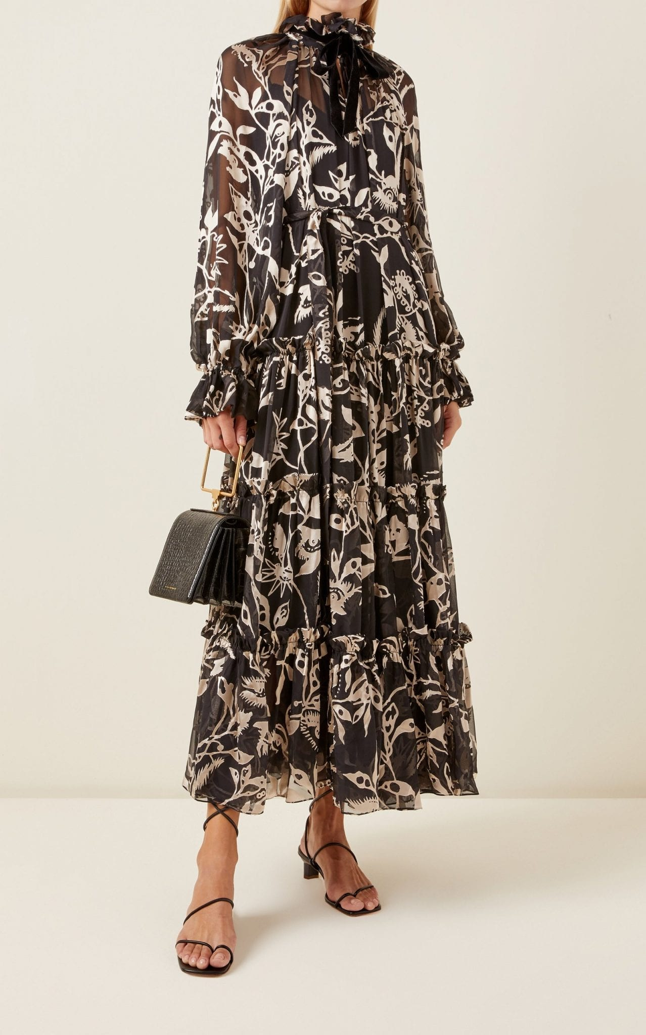 ZIMMERMANN Ladybeetle Floral Silk Tie-Neck Maxi Dress