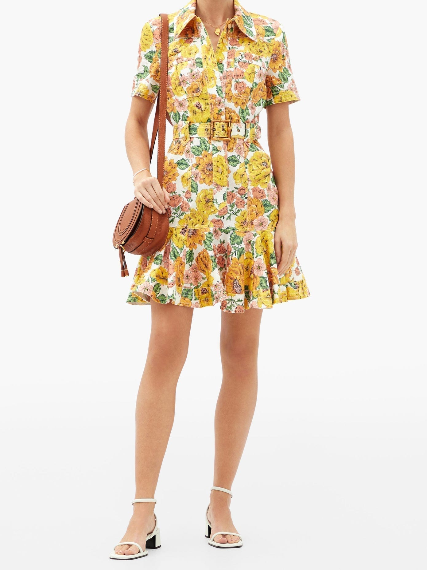 ZIMMERMANN Poppy Sunshine Floral-print Linen Mini Shirt Dress
