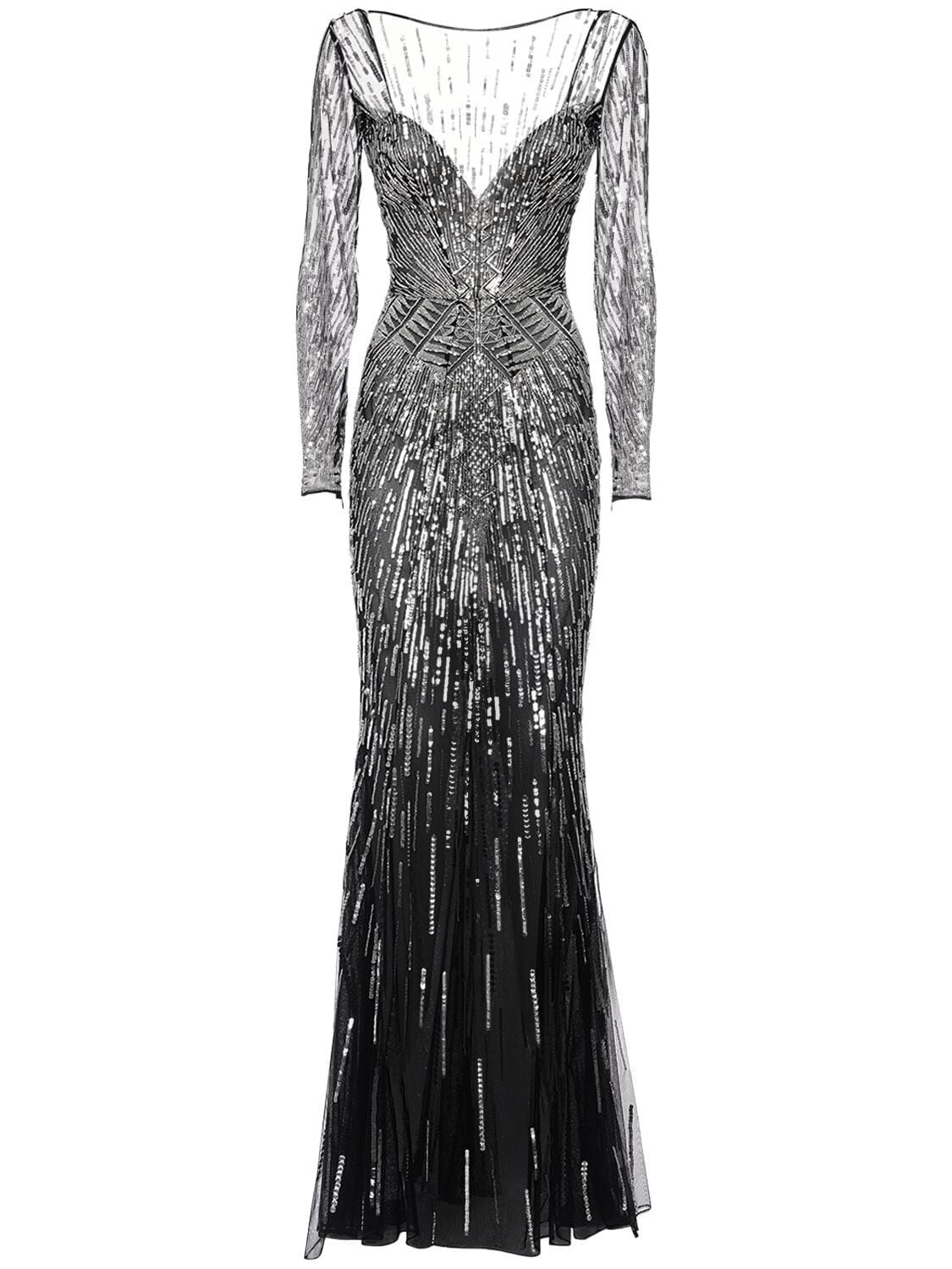 ZUHAIR MURAD Sequined Tulle Long Dress