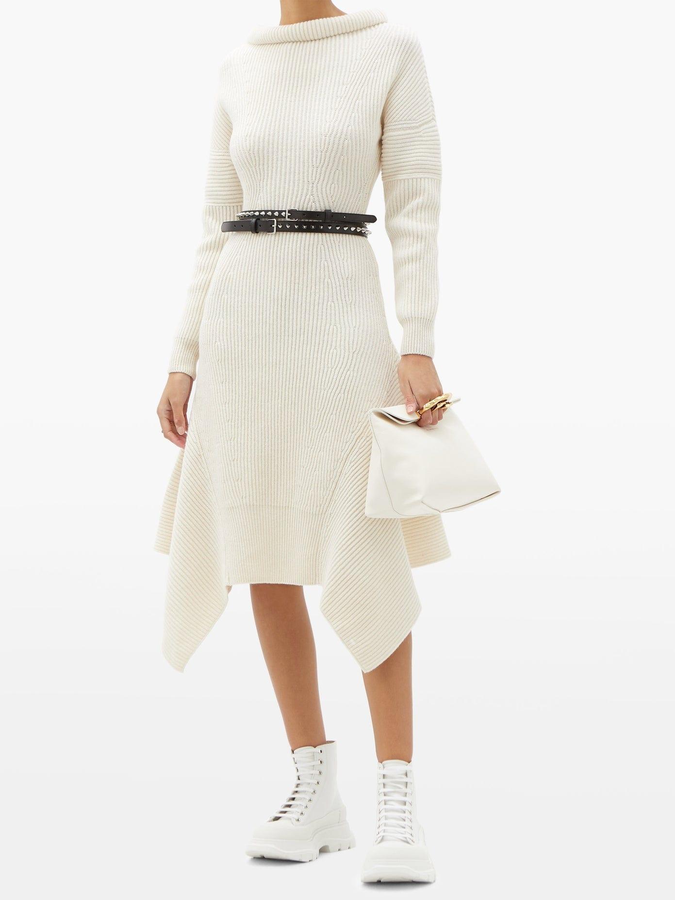 ALEXANDER MCQUEEN Handkerchief-hem Ribbed-wool Midi Dress
