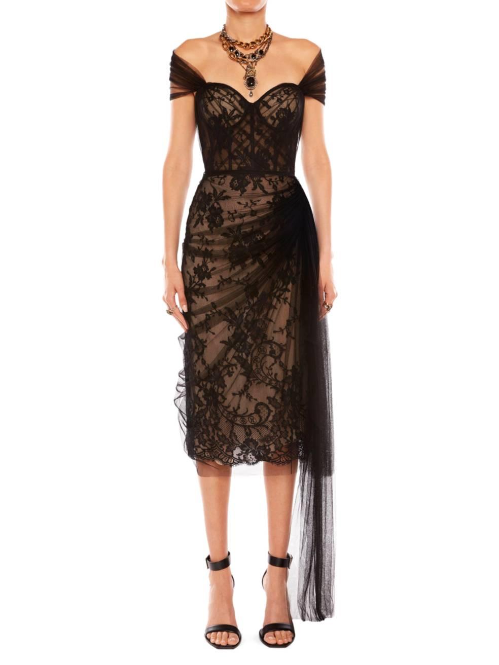 ALEXANDER MCQUEEN Sheer Draped Lace Corset Dress