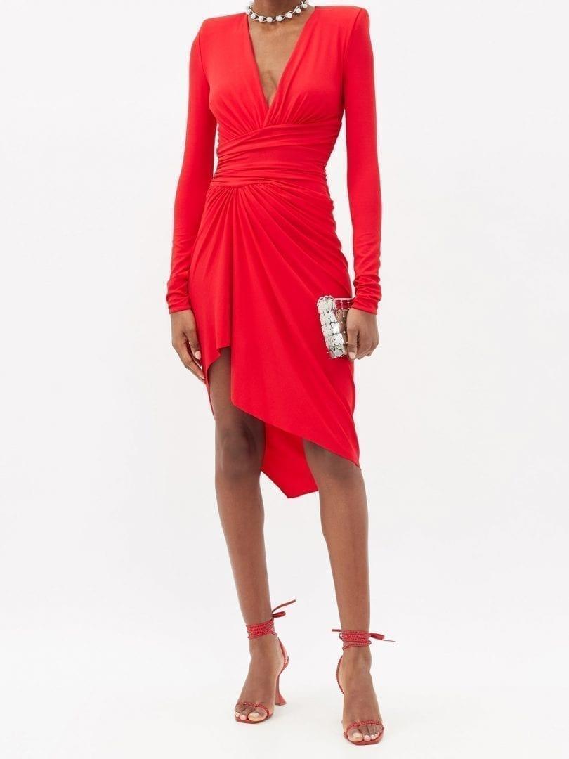 ALEXANDRE VAUTHIER Plunge-neck Gathered Jersey Mini Dress