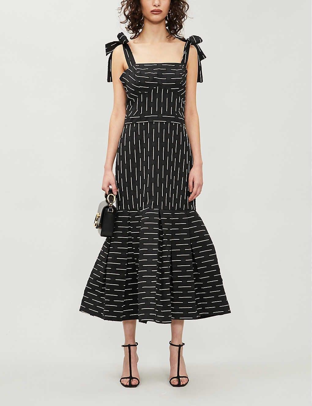 ALEXIS Leticia Striped Flared-hem Woven Midi Dress